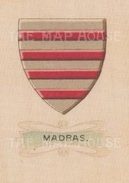 """Cigarette Cards: India, Madras City arms. c1915. Original printed colour on silk. 2"""" x 3"""". [ARMp57]"""