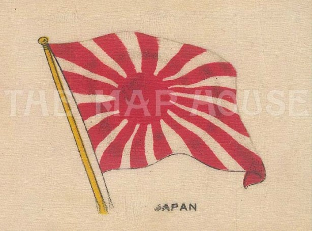 "Cigarette Cards: Japan, Naval Ensign. c1910. Original printed colour on silk. 3"" x 2"". [ARMp66]"