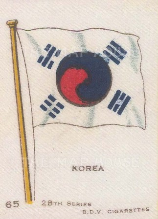 "Cigarette Cards: Flag of Korea. c1910. Original printed colour on silk. 2"" x 3"". [ARMp70]"