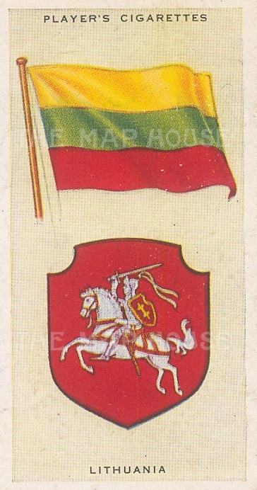 "Player's Cigarettes: Lithuania. c1935. An original antique chromolithograph. 1"" x 3"". [ARMp73]"