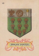 "Cigarette Cards: Malay States arms. c1915. Original printed colour on silk. 2"" x 3"". [ARMp75]"