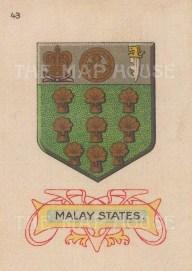 "Cigarette Cards: Malay States arms. c1915. Original printed colour on silk. 2"" x 3"". [ARMp75]"