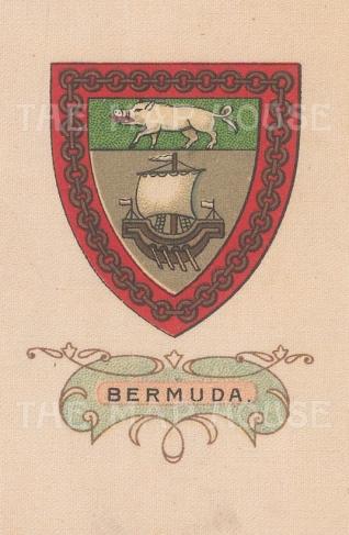 "Cigarette Cards: Bermuda. c1915. Original printed colour on silk. 2"" x 3"". [ARMp7]"