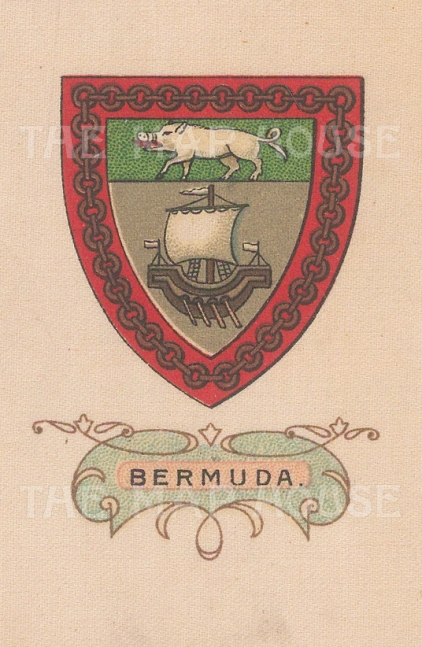 "Cigarette Cards: Bermuda. c1915. Original printed colour on silk. 2"" x 3"". [ARMp7]"