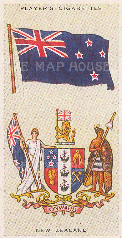 "Player's Cigarettes: New Zealand. c1935. An original antique chromolithograph. 1"" x 3"". [ARMp90]"
