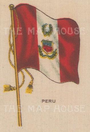 "Cigarette Cards: Peru. c1910. Original printed colour on silk. 2"" x 3"". [ARMp98]"