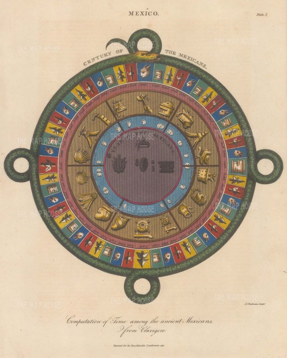 Aztec Calendar: The Serpent, symbol of the calendar, surrounds the 4 year-bearers (Tochtli, Cagli, Tecpatl and Acatl), the moon phases and the symbols for the 18 month year and 52 year century.