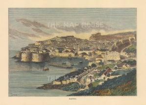 "Reclus: Ragusa, Croatia. 1894. A hand coloured original antique wood engraving. 8"" x 6"". [CEUp543]"