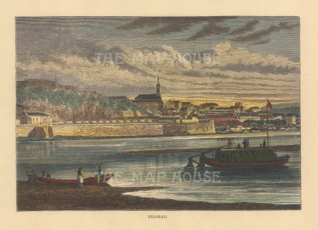 Belgrade: View of the city and fortress from the Sava.