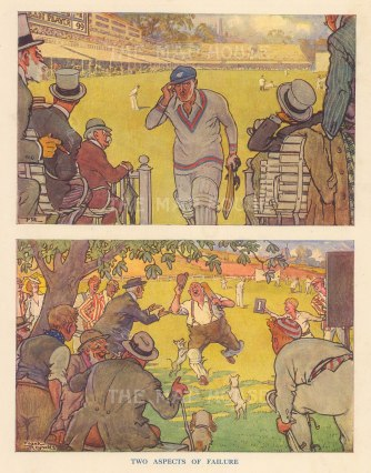 """Punch: Two Aspects of Failure.. 1937. An original vintage chromolithograph. 7"""" x 10"""". [SPORTSp2180]"""