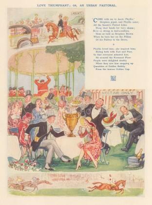 "Punch: Love Triumphant - Ascot. 1929. An original vintage chromolithograph. 7"" x 9"". [DECp2184]"