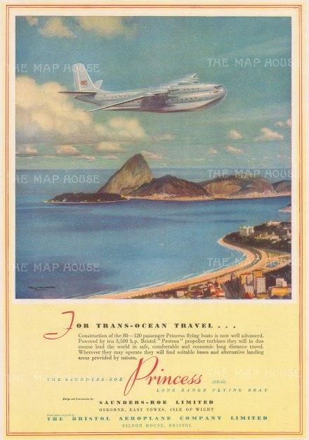 "Illustrated London News. Bristol Airways. 1949.. An original vintage chromolithograph. 9"" x 13"". [DEQCp2189]"