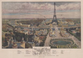 Bird's Eye view: Paris Exhibition and Eiffel Tower: Key to the principal installations. After Henry Lanos.