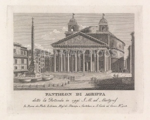 Pantheon (Santa Maria Rotonda): View oi the Roman temple and the Piazza della Rotunda with its obelisk and fountain.
