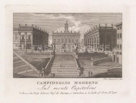 "Piale: Capitoline Hill, Rome. 1839. An original antique etching. 5"" x 4"". [ITp2266]"
