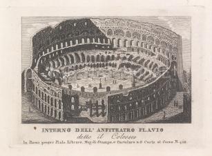 """Piale: Colloseum, Rome. 1839. An original antique etching. 5"""" x 4"""". [ITp2267]"""