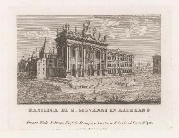 """Piale: Basilica di San Giovanni in Laterano, Rome. 1839. An original antique etching. 5"""" x 4"""". [ITp2270]"""