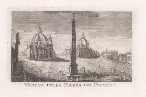 Piazza del Popolo: View from the Flaminio obelisk to the Chiesa di Santa Maria dei Miracoli and Basilica di Santa Maria in Montesanto.