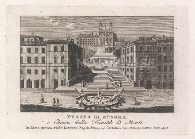Piazza di Spagna Looking towards the Trinita dei Monti church.