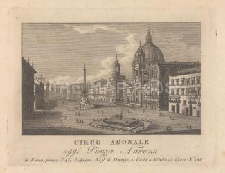 Piazza Navona (Circo Agnale): With the Fontana dei Quattro Fiumi, and Obelisk of Domitian, Sant'Agnese in Agone church, and Palazzo Pamphili.