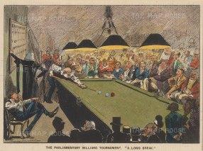 "Punch: Parliament Billiard Tournament. 1893. A hand coloured original antique lithograph. 8"" x 5"". [LDNp10066]"