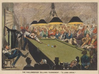 "Punch: Parliament Billiard Tournament. 1893. A hand coloured original antique lithograph. 8"" x 5"". [LDNp10066]"