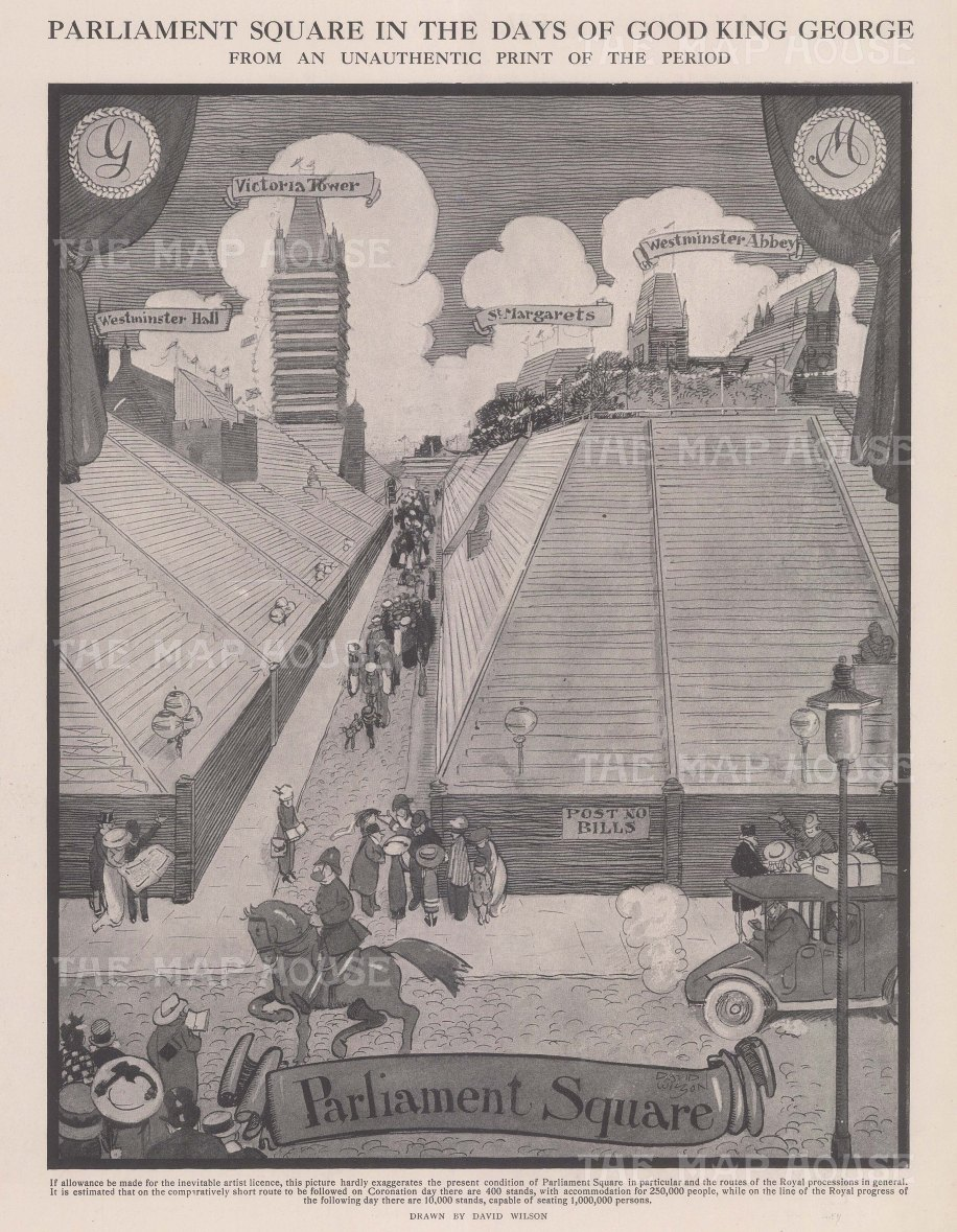 Parliament Square: Sketch showing the preparation for the coronation King George V and Queen Mary. After the satirist David Wilson.