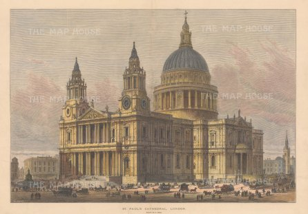 """Illustrated London News: St. Paul's Cathedral. 1883. A hand coloured original antique wood engraving. 20"""" x 14"""". [LDNp10736]"""
