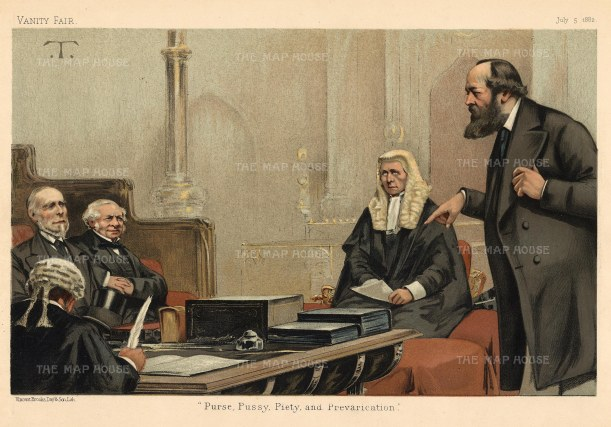 House of Commons: 'Purse, Pussy, Piety and Prevarication'. Lords Northbrook, Granville, Selborne and Salisbury: First Lord of the Admiralty, Foriegn Secretary, Lord Chancellor and the future Prime Minister.