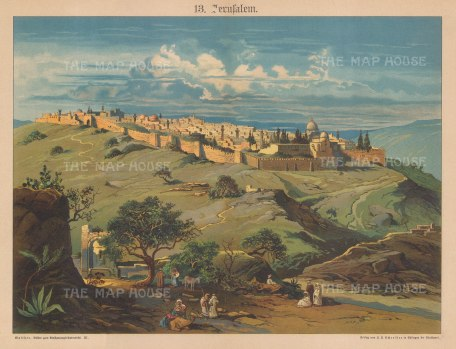 """Schreiber: Jerusalem. c1880. An original antique chromolithograph. 13"""" x 10"""". [MEASTp1678]"""