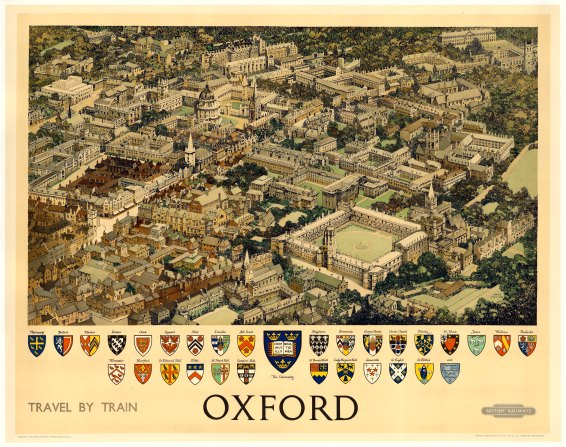 "British Airways: Oxford. 1951. An original vintage chromolithograph. 50"" x 40"". [POSTERp105]"