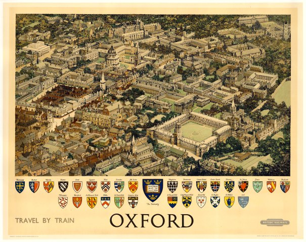 British Railways poster by Red Taylor. Bird's-eye view of the city with the colleges' coats of arms.