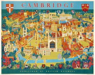 "Lee: Cambridge. c1968. An original vintage chromolithograph. 50"" x 40"". [CAMBS406]"