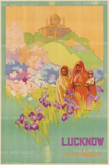 Lucknow: City of Gardens. Newsome and fellow artist Kathleen Nixon were commissioned by the Oxford University Press to visit India following which the Indian State Railways commissioned a series of posters. Printed in Calcutta.
