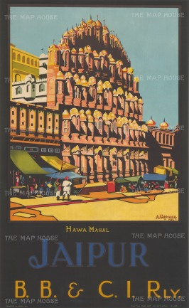 Jaipur: Bombay, Baroda and Central India Railway. Stylised view of the Hawa Mahal, the Palace of the Winds. Published in Mumbai.