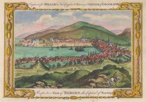 "Millar: Bergen, Norway. 1782. A hand coloured original antique copper engraving. 12"" x 8"". [SCANp373]"