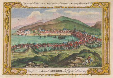 "Millar: Bergen, Norway. 1782. A hand coloured original antique copper engraving. 12"" x 8"". [SCANp373]"