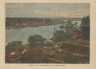 "Brown: Bangkok. 1885. A hand coloured original antique wood engraving. 5"" x 3"". [SEASp1644]"