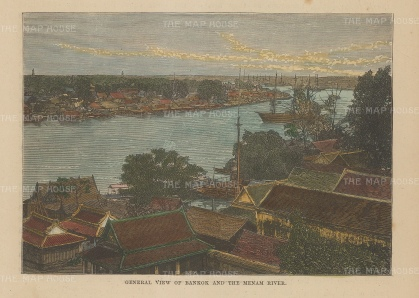 "Brown: Bangkok. 1885. A hand coloured original antique wood engraving. 5"" x 3"". [SEASp1644]"