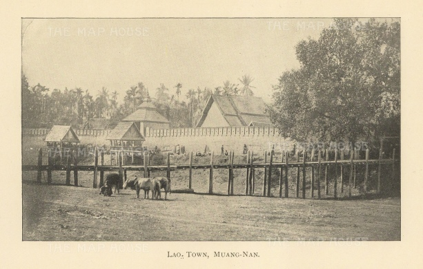 Muang-Nan: View of the town near the Laos border.
