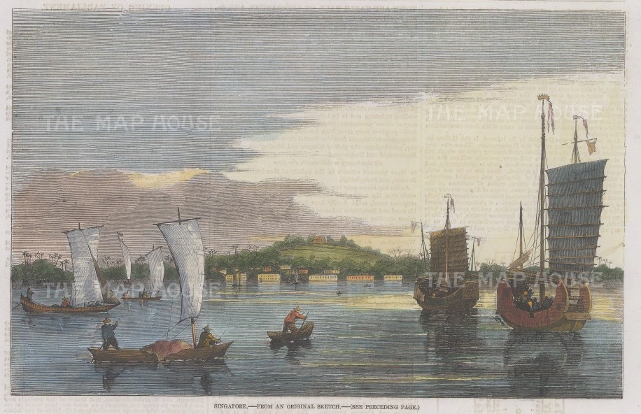 "Illustrated London News: Singapore. 1857. A hand coloured original antique wood engraving. 9"" x 6"". [SEASp1712]"