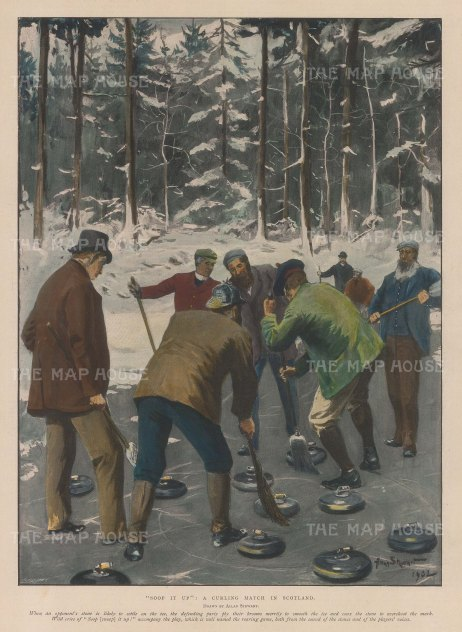 "Illustrated London News: Curling. 1903. A hand coloured original antique photo-lithograph. 10"" x 13"". [SPORTSp2114]"