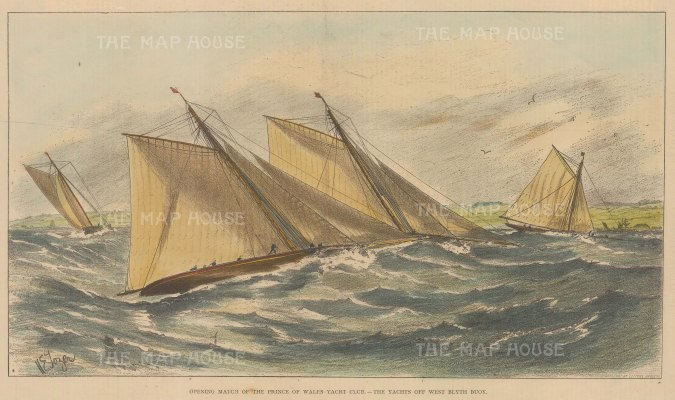 "ISDN: Sailing. 1876. An original antique chromolithograph. 13"" x 10"". [SPORTSp2976]"