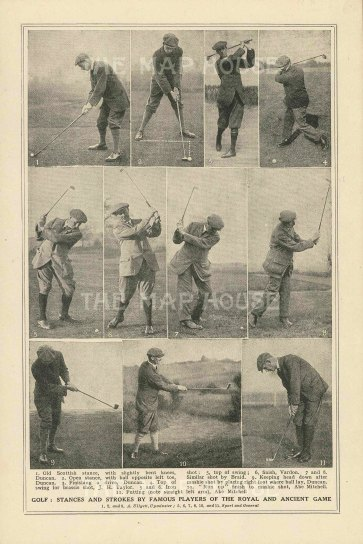 "Anonymous: Famous Golfers. c1920. An original antique photolithograph. 4"" x 7"". [SPORTSp3502]"