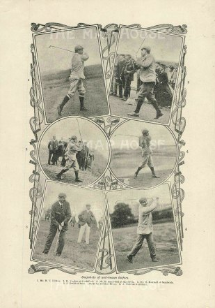 "Anonymous: Famous Golfers. c1920. An original antique photolithograph. 4"" x 7"". [SPORTSp3504]"