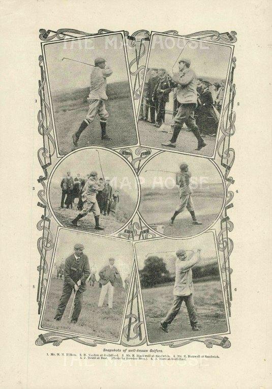 """Anonymous: Famous Golfers. c1920. An original antique photolithograph. 4"""" x 7"""". [SPORTSp3504]"""