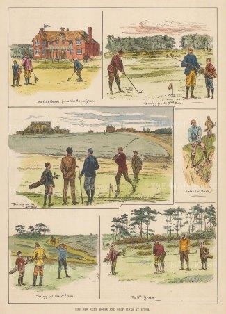 "ISDN: Golf. 1892. A hand coloured original antique wood engraving. 8"" x 14"". [SPORTSp3519]"