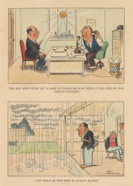 "Bateman: The man who never got a game of tennis. c1930. A hand coloured original vintage lithograph. 7"" x 10"". [SPORTSp3532]"