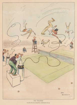 "Bateman: The Volleyers. c1930. A hand coloured original vintage lithograph. 7"" x 10"". [SPORTSp3533]"