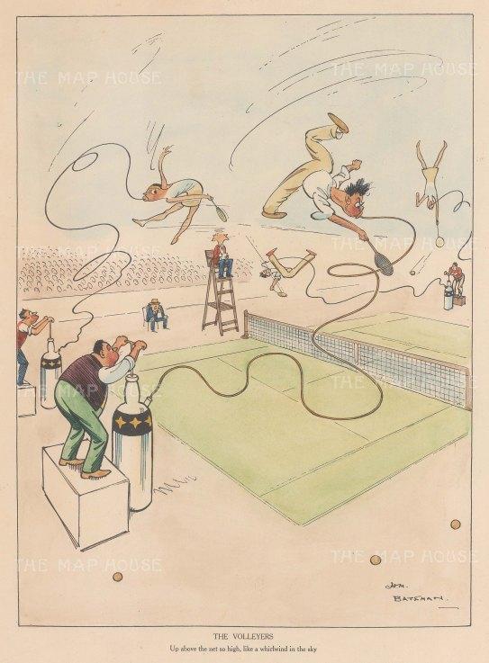 "Bateman: The Volleyers. c1930. A hand coloured original vintage lithograph. 7"" x 10"". [SPORTSp3533]"
